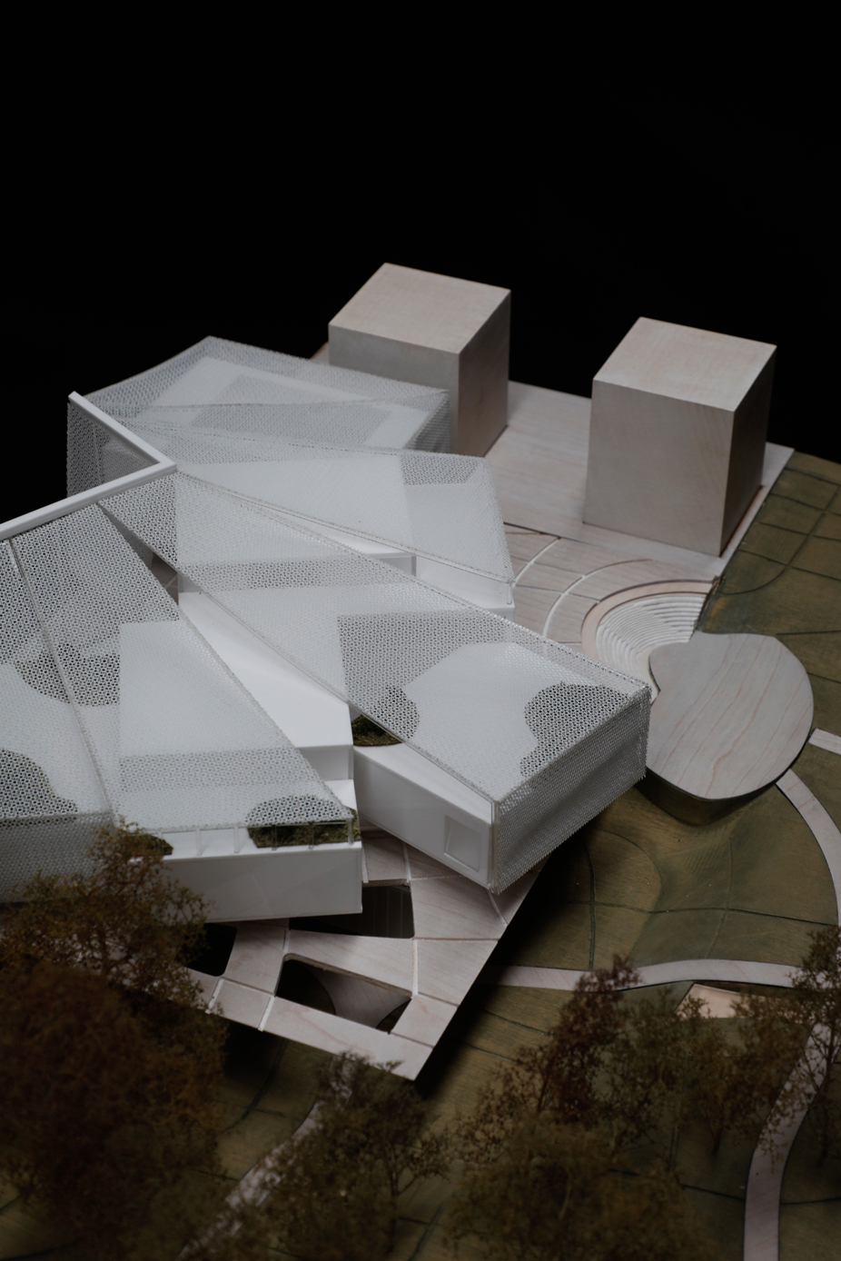 Architectural Compeition Model at 1-500 made with timber and white acrylic for HASSELL & SO-IL