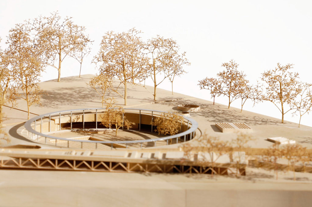 Architectural Compeition Model at 1:500 for the Parramatta Pool Competion by Grimshaw and Andrew Burges