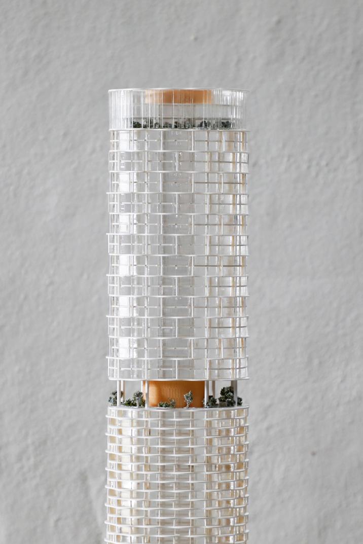 Compeition Model for Crone amd Kohn Pedersen Fox Associates at 1-500 using white acrylic tower depicting 338 Pitt Street